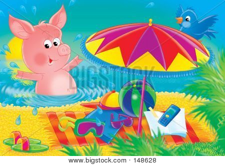 "illustration for children. a series ""cheerful animals"". pig on a beach. poster"
