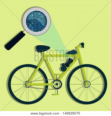 Electric Bicycle, Magnifying Glass And Electronics