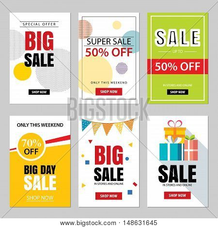 Set of sale website banner templates.Social media banners for online shopping. Vector illustrations for posters email and newsletter designs ads promotional material.