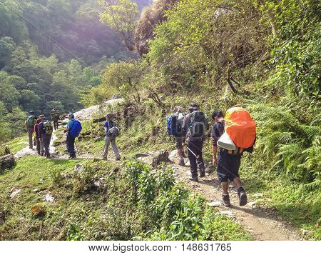 ANNAPURNA NEPAL - APRIL 13 2012 : Tourist trek to Annapurna base camp Nepal
