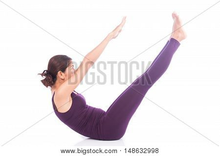 beauty women exercise yoga v shape on white background