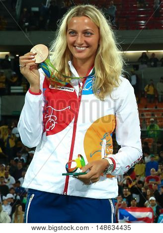 RIO DE JANEIRO, BRAZIL - AUGUST 13, 2016: Bronze medalist Petra Kvitova of Czech Republic during medal ceremony after tennis women's singles final of the Rio 2016 Olympic Games