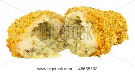 Garlic butter filled chicken Kiev isolated on a white background