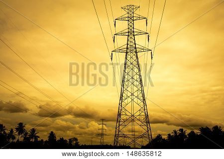 electric post landscape in subset background .