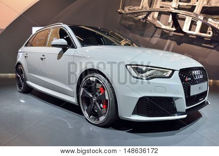 Wolfsburg, Germany - April 15, 2016. Audi RS3 car on display at Audi showroom in Autostadt theme park in Wolfsburg.