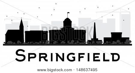 Springfield City skyline black and white silhouette. Simple flat concept for tourism presentation, banner, placard or web site. Business travel concept. Cityscape with landmarks