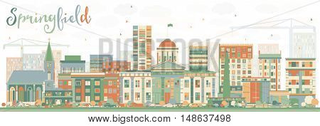 Abstract Springfield Skyline with Color Buildings. Business Travel and Tourism Concept . Image for Presentation Banner Placard and Web Site.