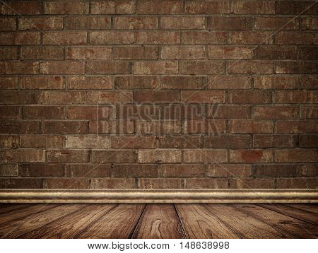 Old bricks wall and wooden floor with decorative plinth.
