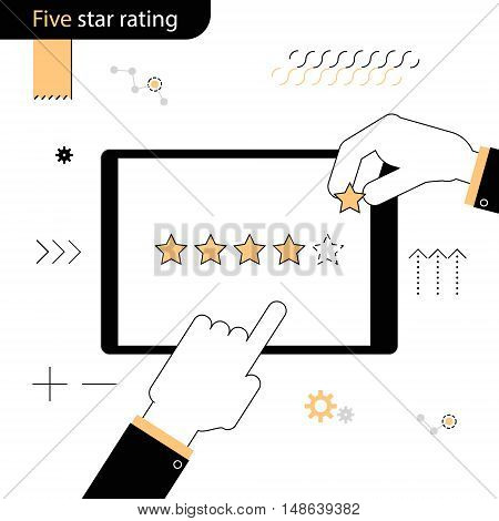 Five Star rating . Hand pointing a finger at the rating stars. Hand adds a fifth star in the rating . Linear flat design on a white background
