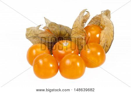Fruits Physalis ( Physalis peruviana) isolated on white background close up.