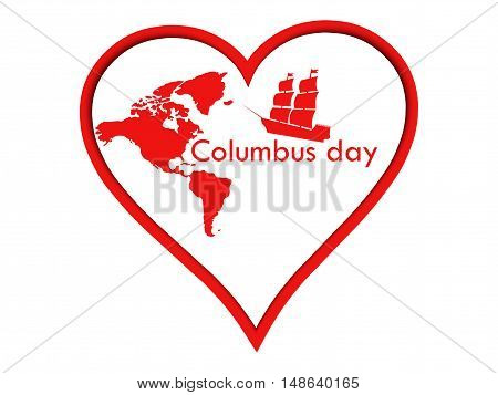 Columbus Day Sticker heart. The poster with the heart and the ship. Vector illustration.