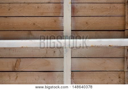 Bottom View Of Wooden Board-walk On Metal Joists.