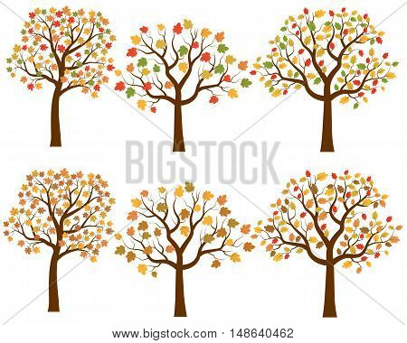 Vector Set of Cartoon AutumnTree Silhouettes in Flat Style