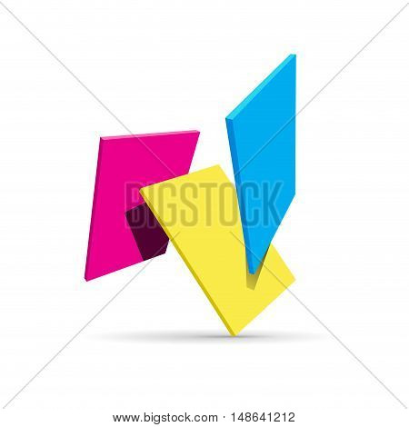 Vector CMYK squares background, isolated on white