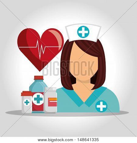 avatar woman nurse medical assitance with medicine icons set. colorful design. vector illustration