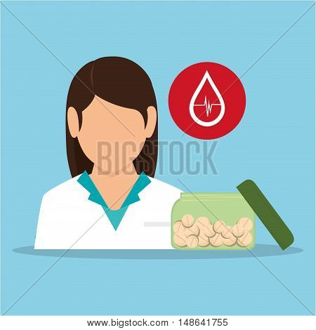 avatar woman medical assitance with medicine icons set. colorful design. vector illustration