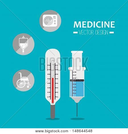 syrenge injection and termometer tools and medicine icon set. vector illustration