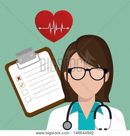 avatar woman medical assitance with report medicine paper table . colorful design. vector illustration