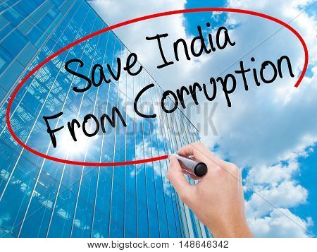 Man Hand Writing Save India From Corruption With Black Marker On Visual Screen