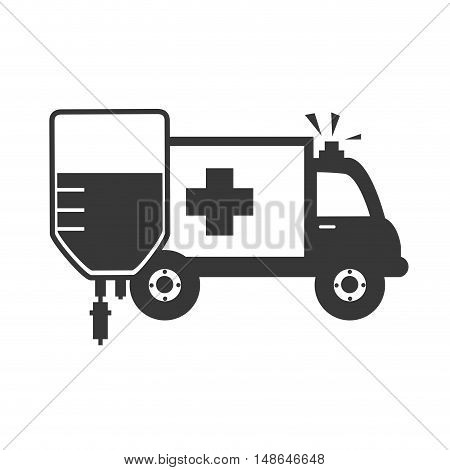 ambulance emergency medical vehicle with iv bag medicine icon. vector illustration