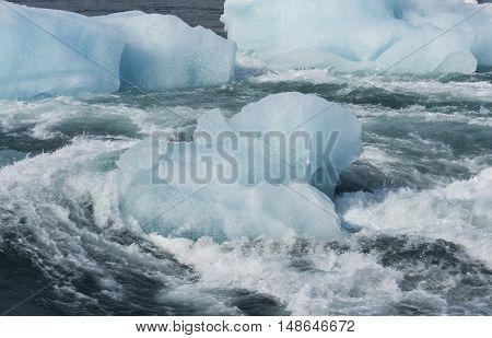 Ice blocks in river Jokulsa at Jokulsarlon glacier lagoon in the Vatnajokull National Park Iceland