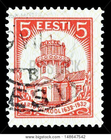 ESTONIA - CIRCA 1932 : Cancelled postage stamp printed by Estonia, that shows University Observatory.