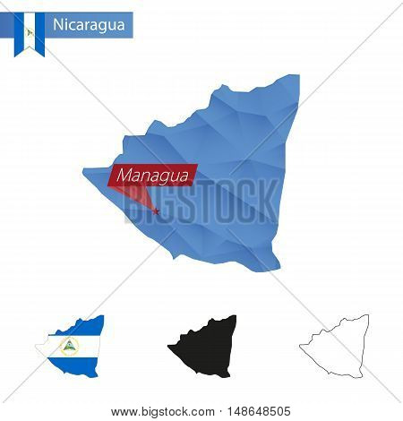 Nicaragua Blue Low Poly Map With Capital Managua.