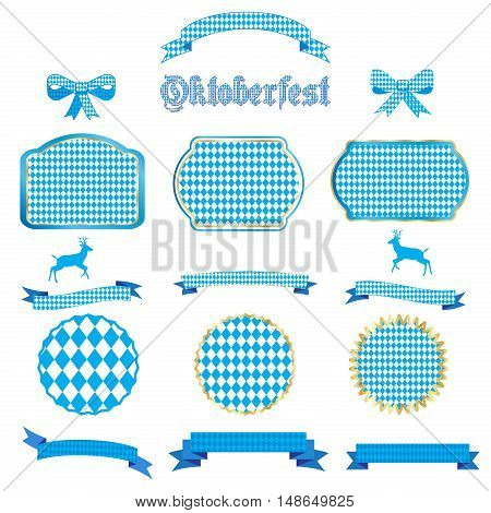 Oktoberfest ribbon and banners, bow tie and tied ribbon collection set. Ribbons and labels isolated on white background. October festival traditional blue background set. Vector ribbons with Bavarian flag blue pattern. Illustration