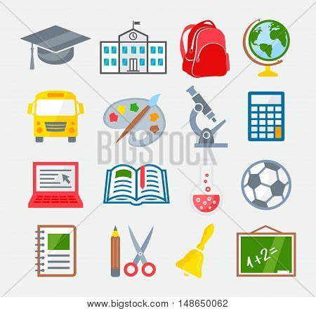 School and Education Colorful Icons on gray background