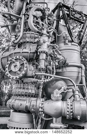 SAMARA RUSSIA - SEPTEMBER 11 2016: Detail of space rocket engine NK-33 by the Corporation