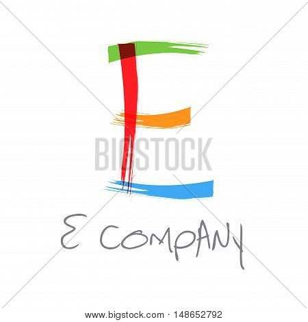 Vector initial letter E scrawled colored text