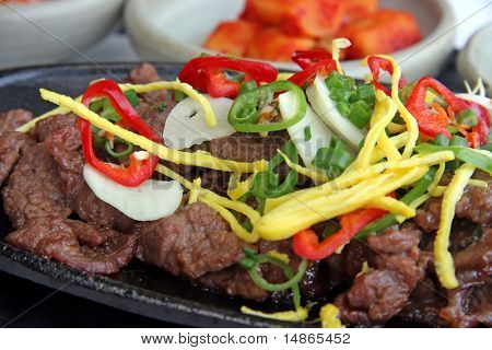 Beef bulgogi traditional korean barbecued meat dish poster