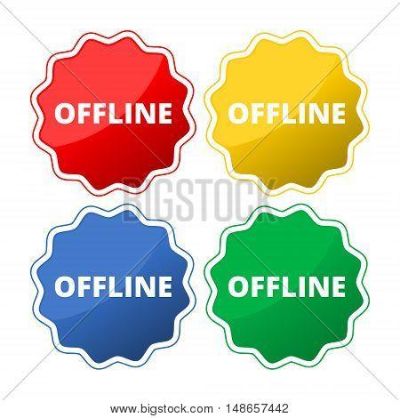 OFFLINE word icon button set on white background