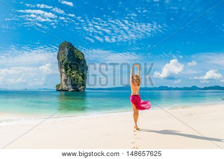 Classy woman on the Thai beach of Poda in Krabi