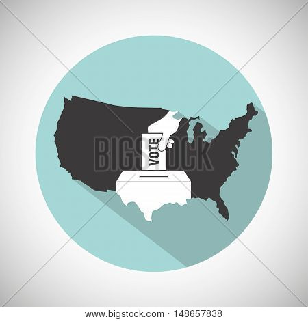 Election Day Concept Icon. Hand Putting Voting Paper In The Ballot Box And Usa Map.