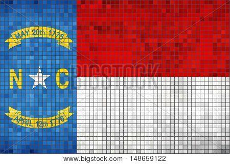 Abstract Mosaic flag of North Carolina - illustration,  The flag of the state of North Carolina,  North Carolina grunge mosaic flag