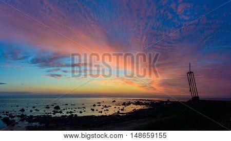 Sunset sky and sea in Tahkuna, island of Hiiumaa, Estonia.