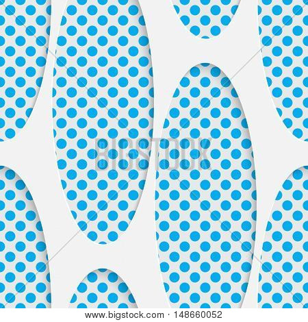 Seamless Ellipse Pattern. Vector Abstract Modern Design. White and Blue  Geometric Background.