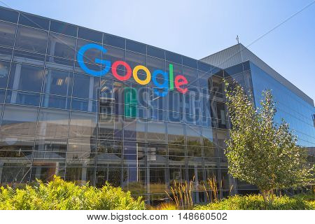 Mountain View, California, USA - August 15, 2016: Google sign on one of the Google buildings. Google is an American multinational corporation specializing in Internet services and products.
