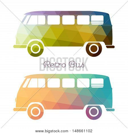 Retro multicolor bus. Vintage van flat design. Vector illustrtion.