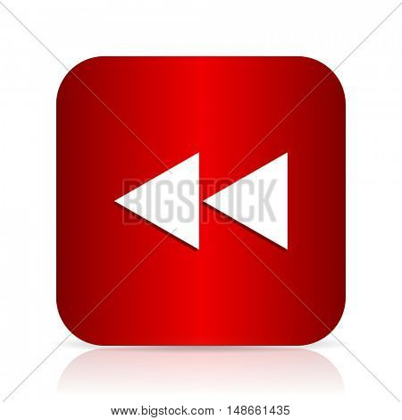rewind red square modern design icon