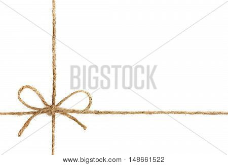 String or twine tied in a bow isolated on white background. Gift or present concept. poster