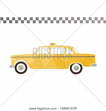 Yellow taxi car. Flat styled vector illustration. Retro Taxi flat Picture - stock vector.