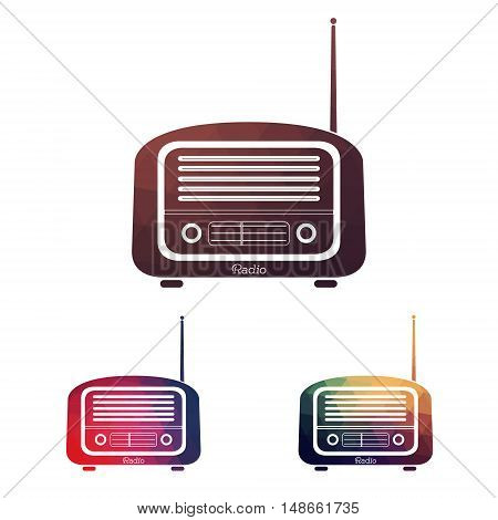 Set Multicolors vintage radio on white background - vector file. llustration of vintage antique radio