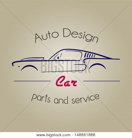 Retro silhouette car element logo. Vintage car logotype. Auto Company Logo Design Concept with classic American style sports Car Silhouette