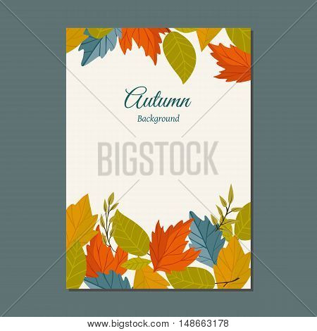 Autumn leaves fall on poster vector illustration. Background with hand drawn autumn leaves. Design elements.