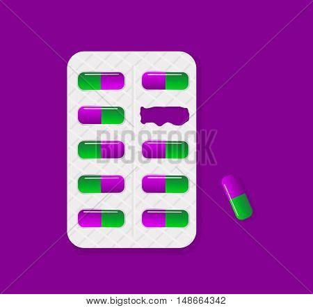 Blister pack of tablets lack of pill package.Tablet pills medical drug pharmacy care and tablet pills