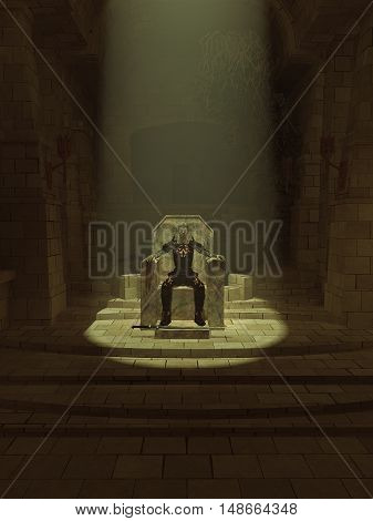 Fantasy illustration of an undead lich or zombie king sitting on his throne in a dark hall, digital illustration (3d rendering)