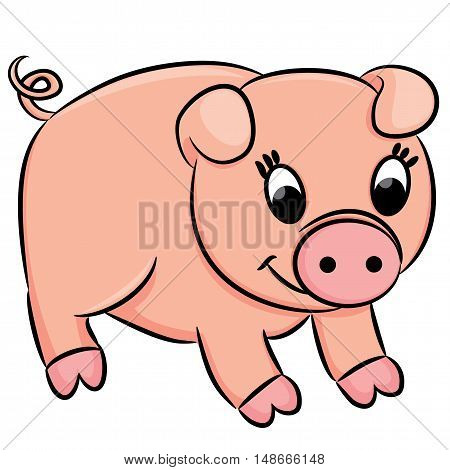 Cartoon pig foe coloring book. Vector illustration