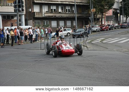 BELGRADE,SERBIA - SEPTEMBER 10, 2016: Old timer formula at the commercial race of old cars in memory of formula 1 race held on the same place in 1939 two days after the beginning of Second World Warwhen the famous Italian driver Tazio Nuvolari won